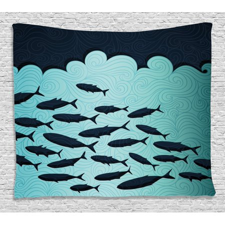 Ocean Animal Decor Tapestry  Surreal Graphic With Ornate Swirl Waves And Group Of Fish Dive Nautical Theme  Wall Hanging For Bedroom Living Room Dorm Decor  80W X 60L Inches  Blue  By Ambesonne