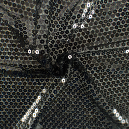 Midnight Black Sequin Mesh, Fabric By the Yard
