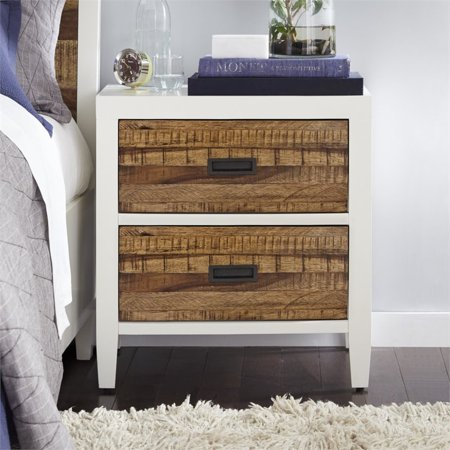 Modus Montana 2 Drawer Nightstand in White Lacquer and Natural Sengon - image 4 of 5