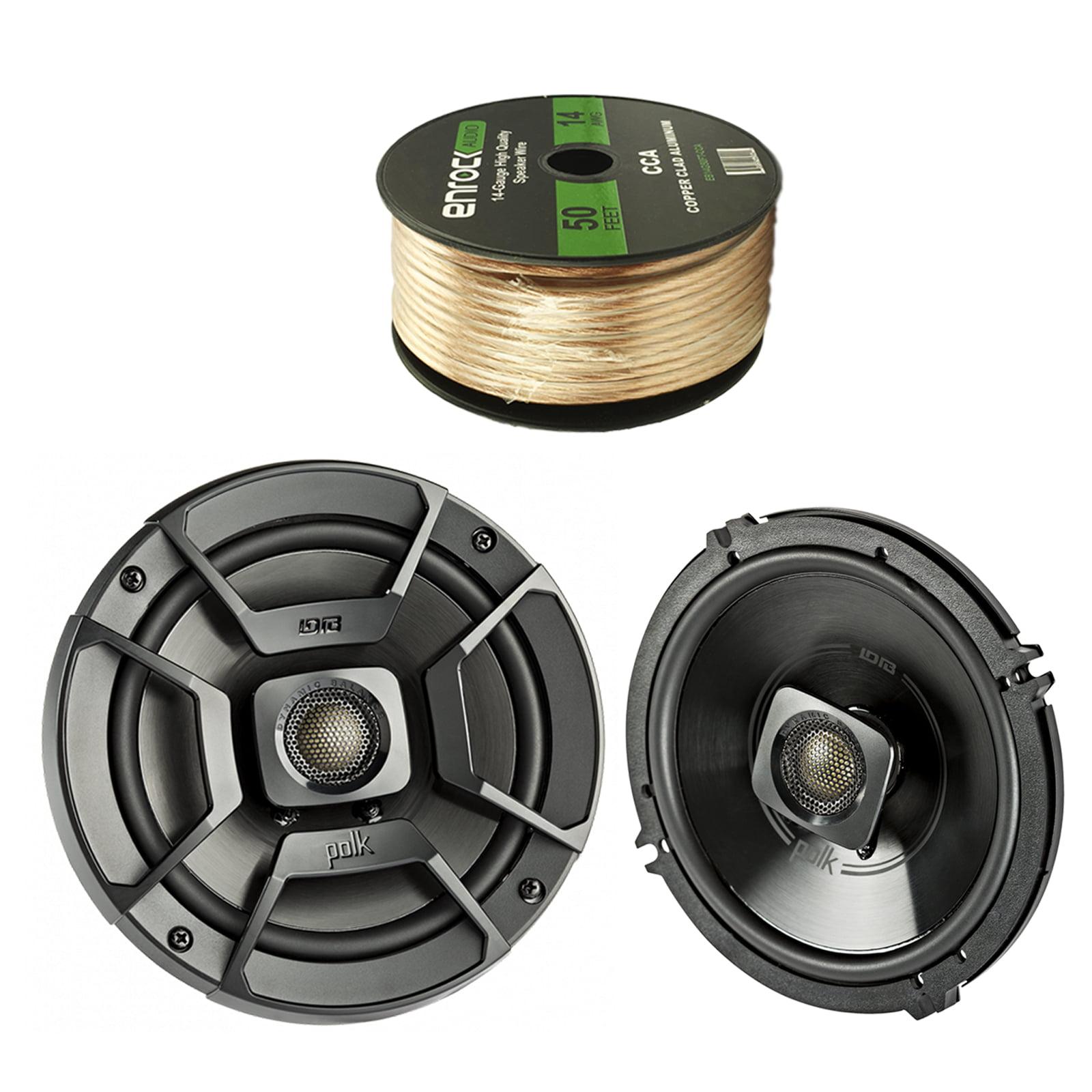 "2X Polk Audio 6.5"" 300W 2 Way Car/Marine ATV Stereo Coaxial Speakers, Enrock Audio 14 AWG Gauge 50 Feet Speaker Wire Cable"