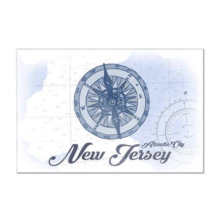 Atlantic City  New Jersey   Compass   Blue   Coastal Icon   Lantern Press Artwork  12X8 Acrylic Wall Art Gallery Quality