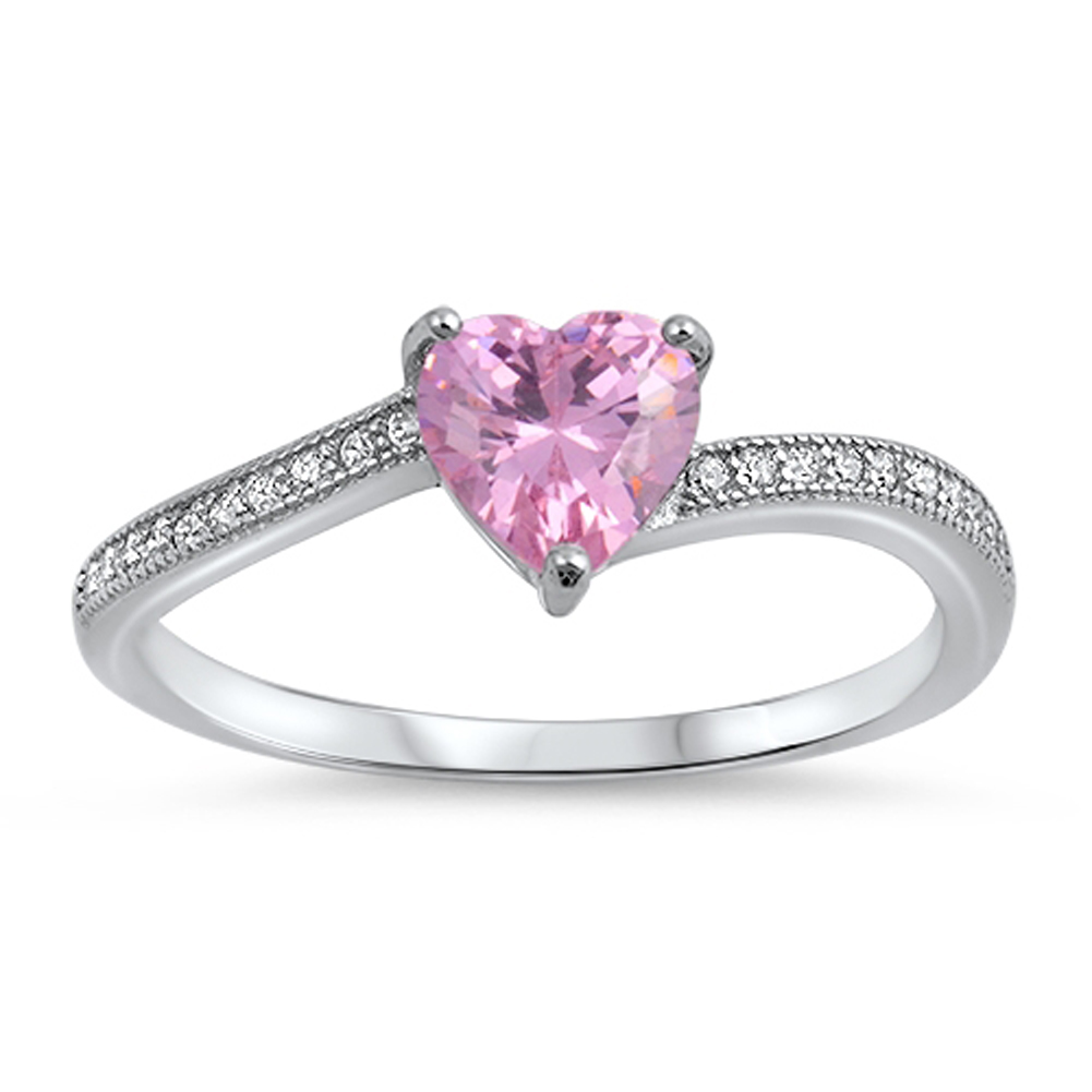solitaire pink cz promise ring sizes 3 4 5 6 7 8 9