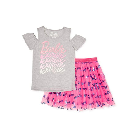 Barbie Girls Logo Cold Shoulder Top and Foil Printed Skirt, 2-Piece Outfit Set, Sizes 4-18 & Plus Shirts And Skirts
