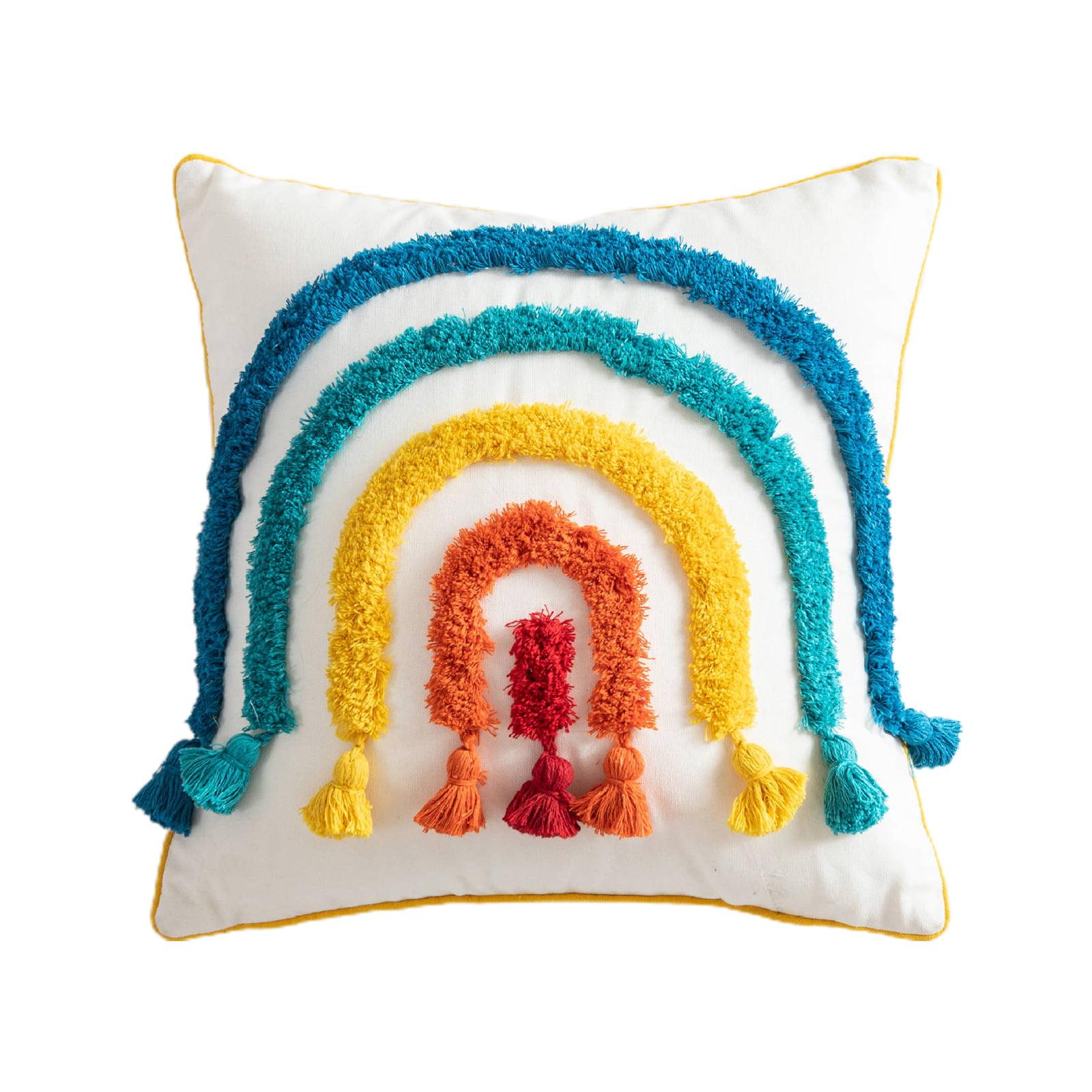 Estone Morocco Throw Pillow Case Colorful Rainbow Bridge Tufted Tassel Cushion Cover Walmart Com Walmart Com