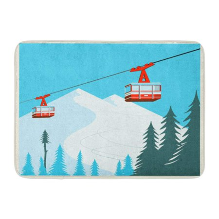 KDAGR Blue Car Vintage Winter Cartoon Red Ski Lift Gondolas Moving in Snow Mountains Cable Doormat Floor Rug Bath Mat 23.6x15.7 inch ()