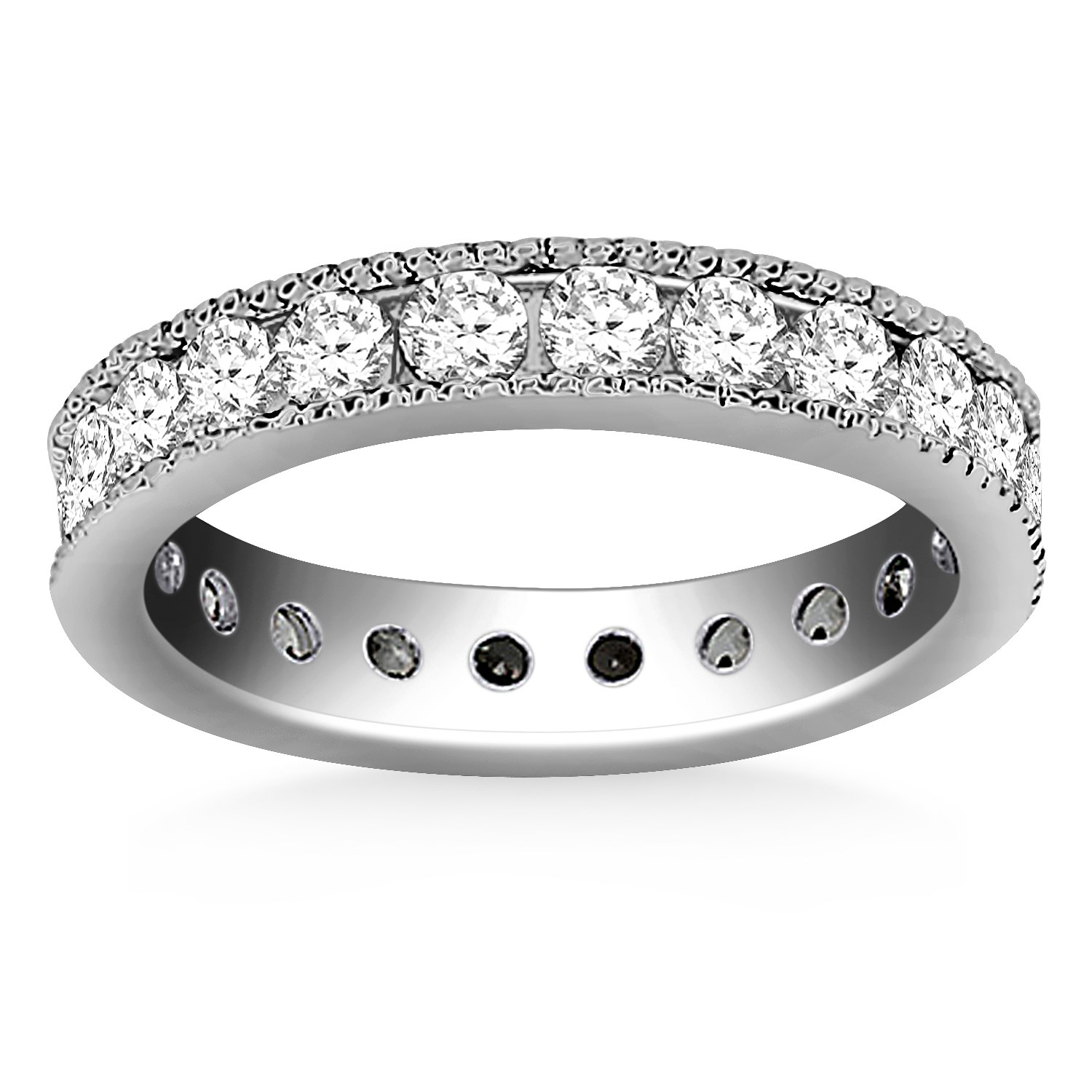 14K White Gold Antique Channel Set Round Diamond Eternity Ring Size 8 by Mia Diamonds