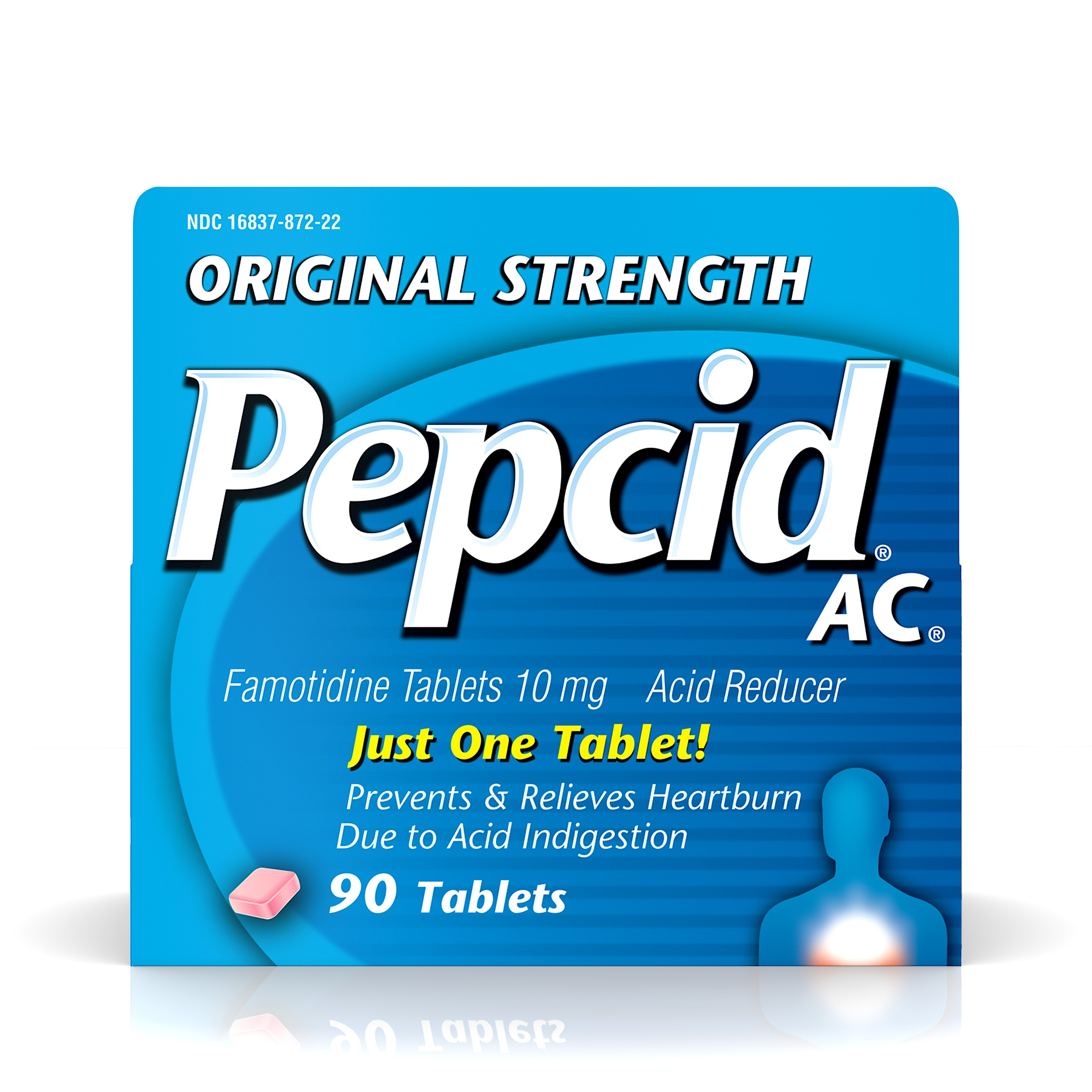 Original Strength Pepcid AC All-Day Heartburn Indigestion Relief Tablets, 90 count