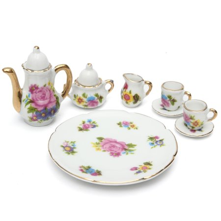 Meigar 8pcs Kids Porcelain Tea Set Teapot Ceramic Retro Style Coffee
