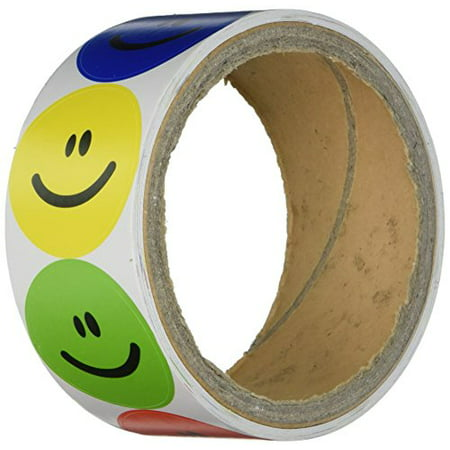 Smiley Face Charts - Rhode Island Novelty 1 Roll of 100 Smiley Face Stickers, Primary Colors NIP