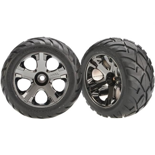 Traxxas TRA3777A 2.8 in. Anaconda Tires and All-Star Nitro Front Wheels Black Chrome by TRAXXAS