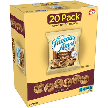 Famous Amos Bite Size Chocolate Chip Cookies, 12.4 Oz., 20 Pouches, 4 Pack
