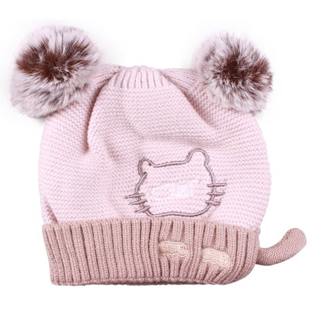 Enimay Women's Winter Cable Knitted Faux Fur Cat Ear Beanie Hat 0413 - - Cat Hat Clothing