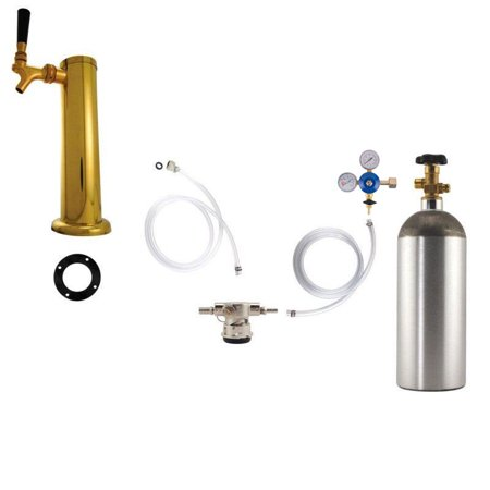 1 Faucet Tower Kegerator Conversion Kit   Brass Tower   Low Profile Us Sankey D System   5Lb Co2 Tank