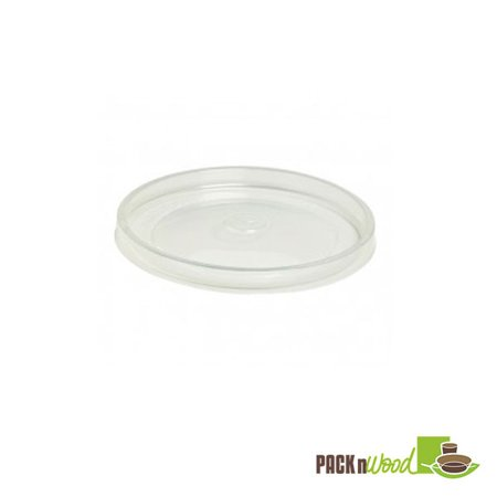 Pack N' Wood 210SOUPLPP116, 4.49'' Dia Clear Flat PP Lid for 12/16/20/24-Oz Deli News Containers, 500/СS