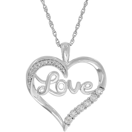 Womens 1 3 Carat T W  Round Diamond Accent Sterling Silver  Love  Heart Pendant  18