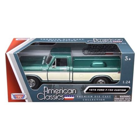 1979 FORD F-150 GREEN/CREAM PICKUP TRUCK 1/24 DIECAST MODEL BY, Motor Max American Classis By