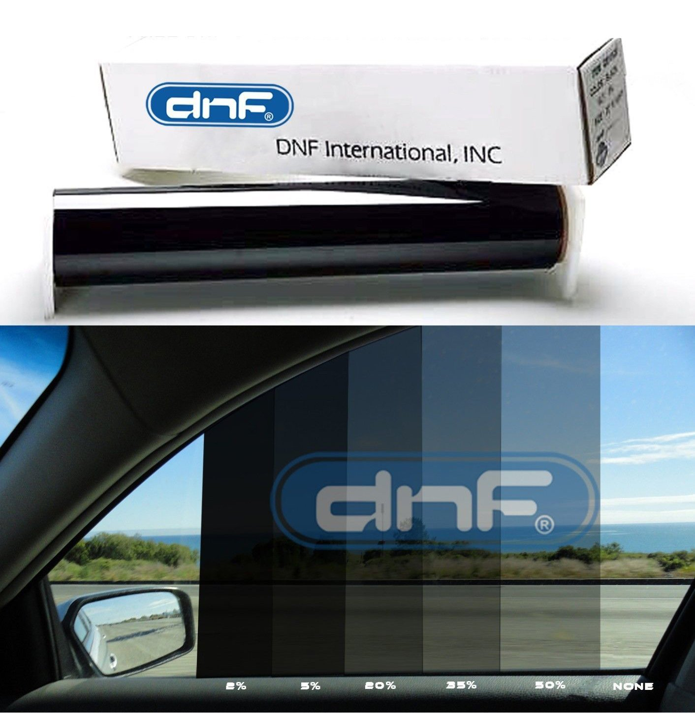 "DNF 2 PLY Carbon 20% 30"" x 100 FT Window Tint Film- LIFETIME WARRANTY GUARANTEE!FREE SQUEEGEE"