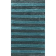 9' x 13' Tiáowén Aqua Blue and Midnight Green Striped Hand Tufted Area Throw Rug