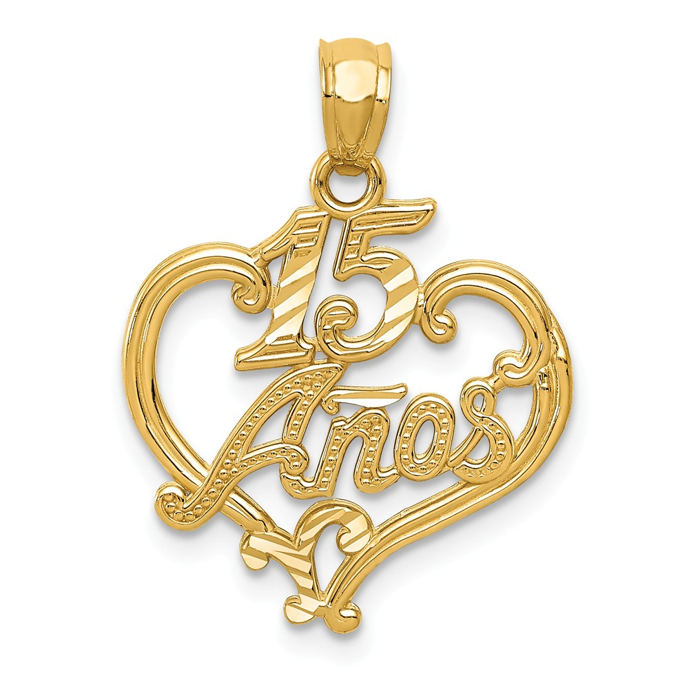 14k Yellow Gold D/C Sweet 15 Anos Heart Pendant
