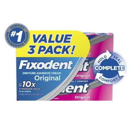 Fixodent Complete Original Denture Adhesive Cream, 2.4 oz, 3 Pack