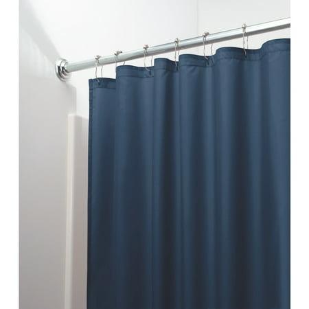 InterDesign Mildew Free Water Repellent Fabric Shower Curtain 72 Inch By Navy