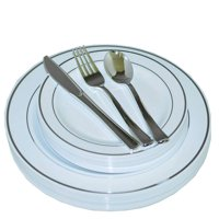 Exquisite 200 Piece Plastic Dinnerware Set - Includes 40 of Each: Dinner Plates, Dessert Plates, Forks, Spoons & Knives - Silver
