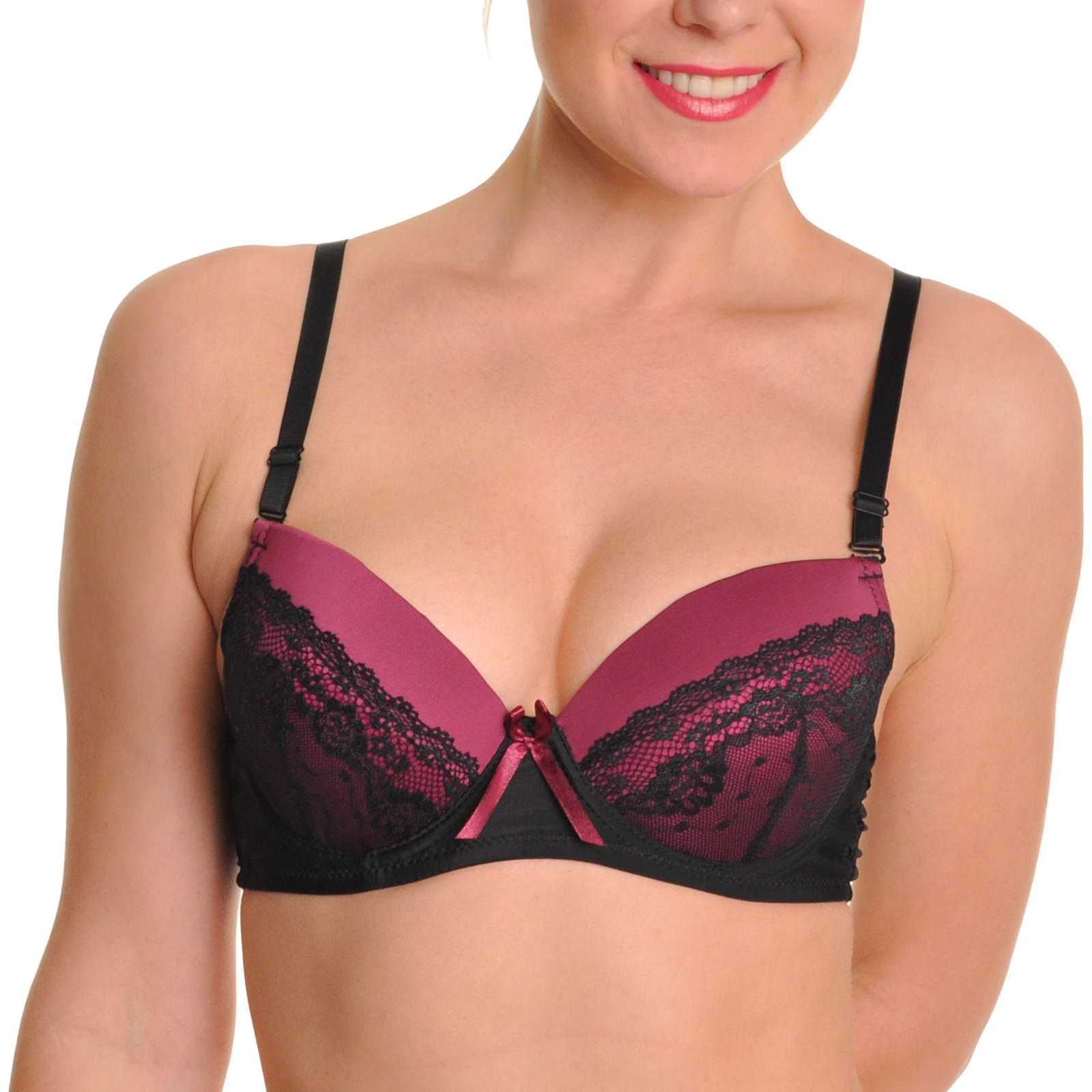 Angelina 6-Pack Wired Push-Up Bra with Lace Accent Detail