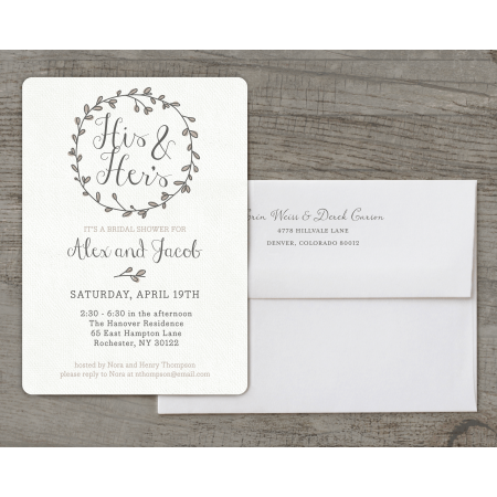 Personalized Wedding Bridal Shower Invitation - Couples Wreath - 5 x 7 Flat Deluxe
