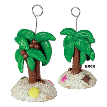 Pack of 6 Palm Trees with Coconuts Photo or Balloon Holder Decorations 6 oz, (Palm Tree Out Of Balloons)
