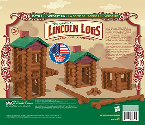 Toy Building Sets LINCOLN LOGS 100th Anniversary Tin 111 All Wood Pieces Ages 3