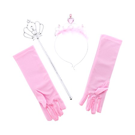 Pretend Play Dress Up Mozlly Pink Royal Princess Marabou Tiara Wand and Gloves Set (4pc Set) - Tiara Toys