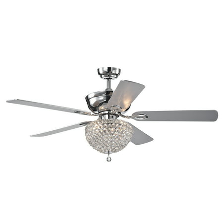 Swarna Chrome 5-blade 52-inch Lighted Ceiling Fan with Crystal Bowl Chandelier (Remote (23 Beckwith 5 Blade Ceiling Fan With Remote)