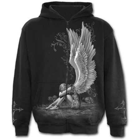 Honda Zip Hoody - Spiral Direct ENSLAVED ANGEL Fleece Full Zip Hoody BlackAngel |Pentagram |Skulls