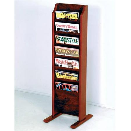 Floor Standing Magazine - Wooden Mallet MR7-FSBK Cascade Free Standing 7 Pocket Magazine Rack - Black & Mahogany
