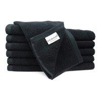 SALBAKOS Luxury Hotel & Spa Turkish Cotton 12-Piece Eco-Friendly Washcloth Set for Bath, Black
