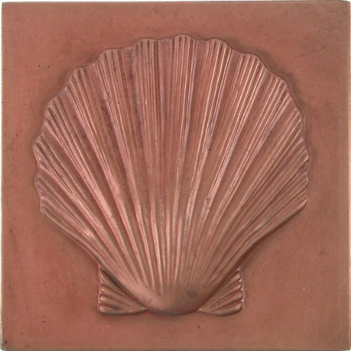 Brass Elegans 27S-RC Shell Design Solid Metal 4-Inch X 4-Inch Accent Tile, Durable Red Copper Finish