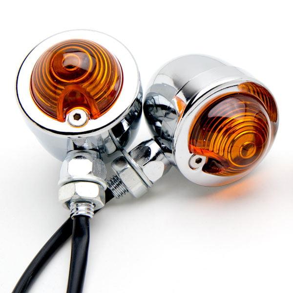 Krator Motorcycle 2 pcs Chrome Amber Turn Signals Lights For Vespa ET2 ET4 Limited