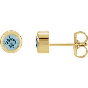 14k Yellow Blue Zircon Earrings
