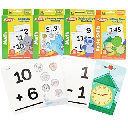 Math Practice Flash Cards (1st Grade Math Flash Cards with Stickers by Playskool - 4)