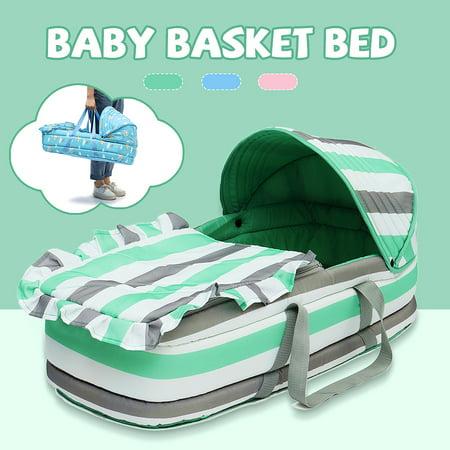 Baby Moses Basket Newborn Travel Bed Bassinet Carrier Cradle Comfortable W/ Hood - image 9 de 9