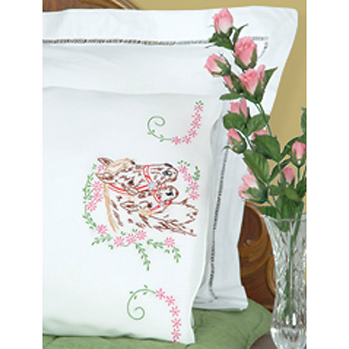 Jack Dempsey Mare And Colt Stamped Pillowcases With White Perle Edge
