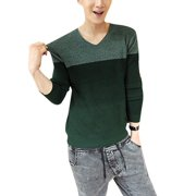 Men's V Neck Long Sleeves Well Stretchy Panel Pullover Sweater (Size S / 34)