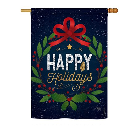 Wreath Decorative Flag - Breeze Decor - Happy Holidays Wreath Winter - Seasonal Christmas Impressions Decorative Vertical House Flag 28