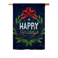 "Breeze Decor - Happy Holidays Wreath Winter - Seasonal Christmas Impressions Decorative Vertical House Flag 28"" x 40"" Printed In USA"