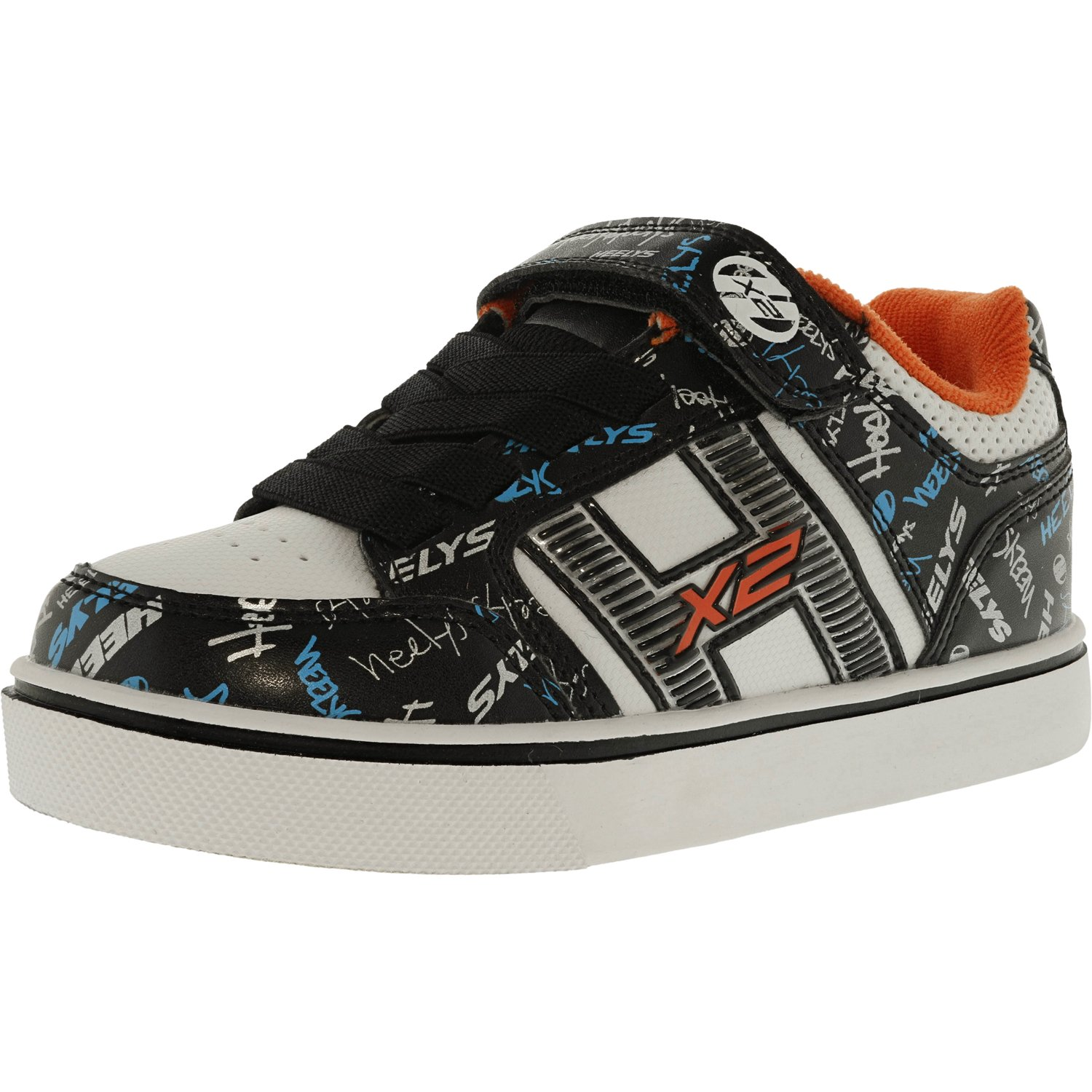 Heelys Boy's Bolt Plus X2 Black / White Orange Cyan Ankle-High Fashion Sneaker - 2M