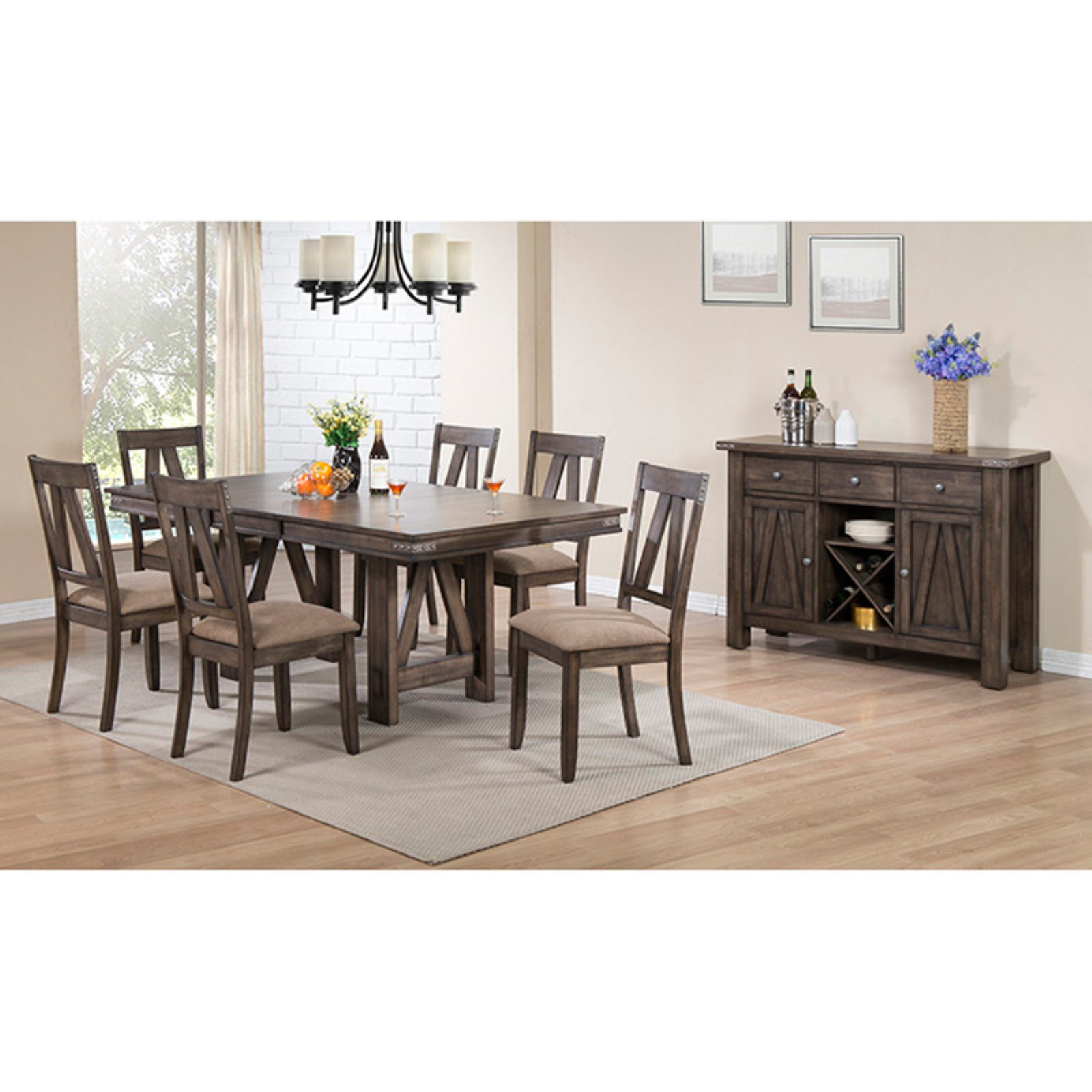 K&B Furniture Brown Wood Rectangular Dining Table with Leaf