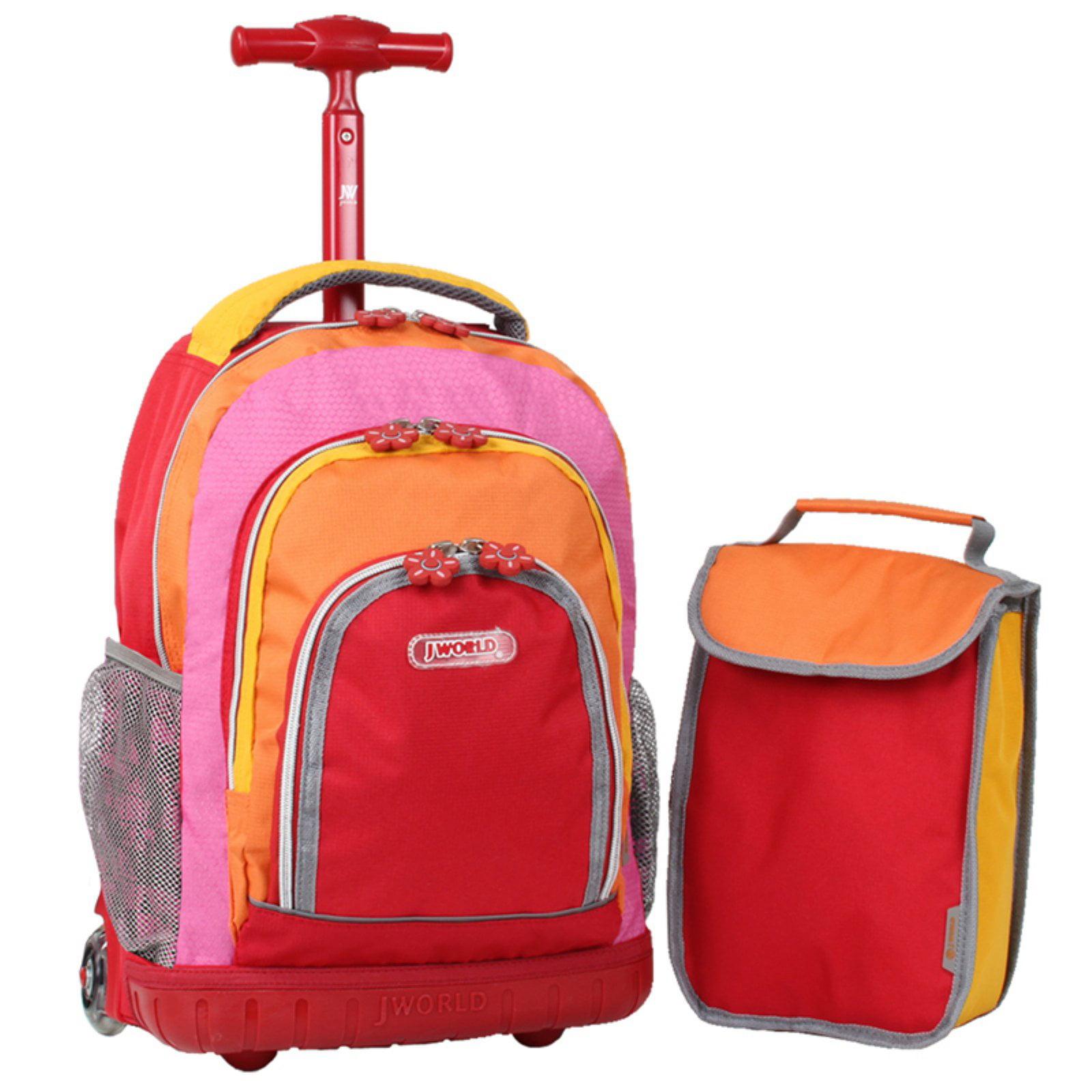 2 Piece Blue Jungle Lollipop Rolling Kids Backpack /& Lunch Bag Set Animal 16