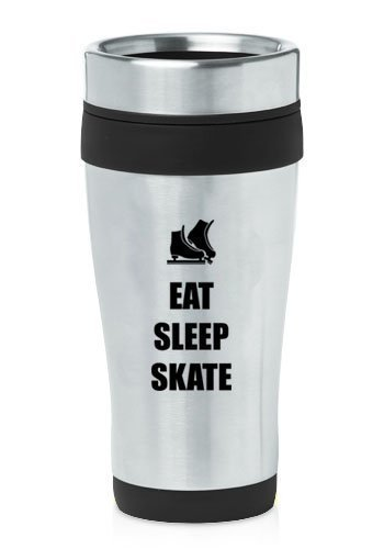 Black 16oz Insulated Stainless Steel Travel Mug Z1834 Eat Sleep Skate Ice Skates,MIP by