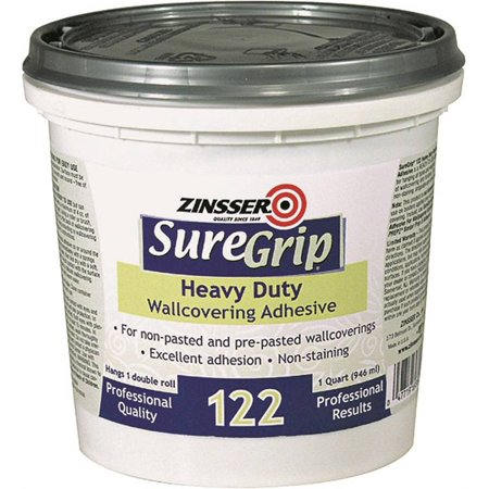 Zinsser SureGrip Heavy Duty Strippable Wallcovering Adhesive, 1 qt, Container, Clear, Paste (Clear Adhesive)