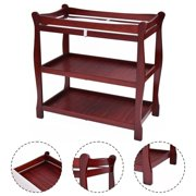 Costway Cherry Sleigh Style Baby Infant Newborn Changing Table Nursery Diaper Station